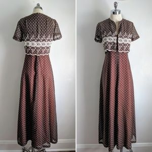 vintage 60's polka dot maxi dress with coverlet